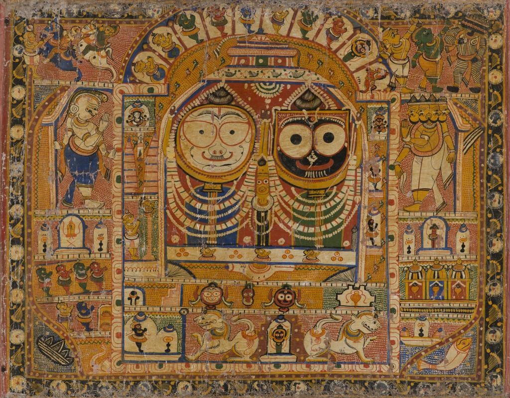 """Pata"" Painting for Pilgrims Depicting the Trinity of the Puri, India, Odisha, Puri district, late 19th century. Ink and color on cotton. Lent by Pratapaditya and Chitra Pal."
